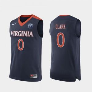 Navy Kihei Clark UVA Jersey #0 2019 Men's Basketball Champions Mens