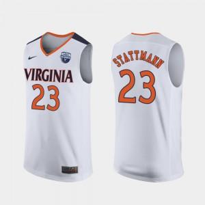 Men's Kody Stattmann UVA Jersey White #23 2019 Men's Basketball Champions