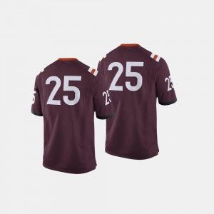 Mens Maroon #25 Virginia Tech Jersey College Football