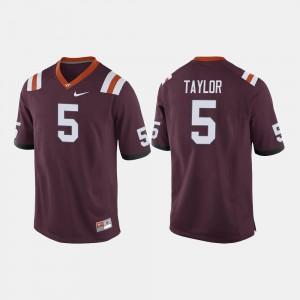 Maroon Tyrod Taylor Virginia Tech Jersey For Men's #5 College Football