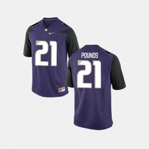 College Football Men Purple #21 Quinten Pounds Washington Jersey