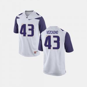 Mens #43 White College Football Tristan Vizcaino Washington Jersey