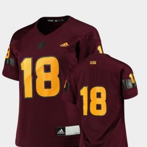 Replica #18 College Football Maroon ASU Jersey For Women's