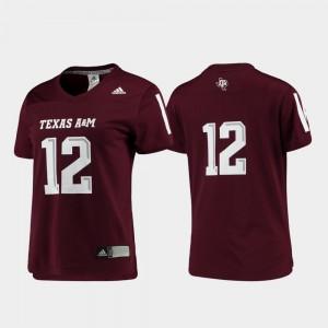 Ladies Football Replica #12 Maroon Texas A&M Jersey