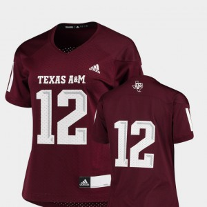 #12 Maroon College Football Replica Texas A&M Jersey For Women's