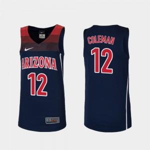Youth #12 Replica Navy Justin Coleman Arizona Jersey College Basketball