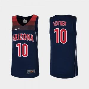 Youth(Kids) College Basketball Ryan Luther Arizona Jersey #10 Replica Navy