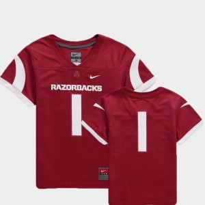 #1 College Football Team Replica Cardinal Youth(Kids) Arkansas Jersey