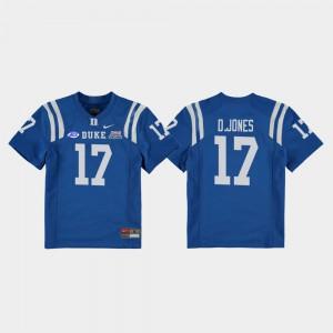 For Kids Daniel Jones Duke Jersey #17 Royal College Football Game 2018 Independence Bowl