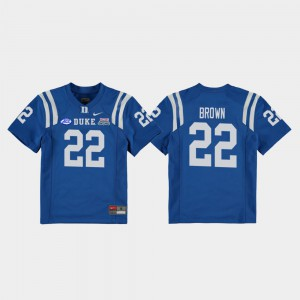 #22 Brittain Brown Duke Jersey College Football Game 2018 Independence Bowl Royal Kids