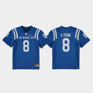 #8 2018 Independence Bowl Youth Royal Aaron Young Duke Jersey College Football Game