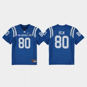 #80 College Football Game 2018 Independence Bowl Daniel Helm Duke Jersey Royal Kids