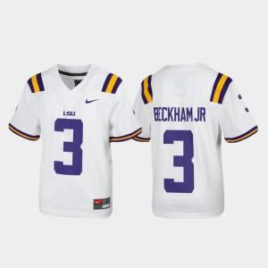 Replica Odell Beckham Jr. LSU Jersey #3 White Alumni Football For Kids