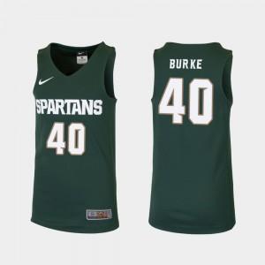 Replica College Basketball For Kids Braden Burke MSU Jersey Green #40