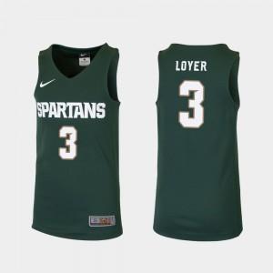 Foster Loyer MSU Jersey Green Replica For Kids College Basketball #3