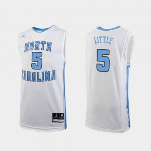 Youth(Kids) College Basketball #5 White Replica Nassir Little UNC Jersey