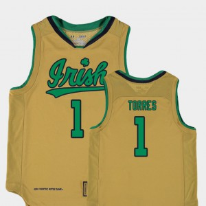 Replica Austin Torres Notre Dame Jersey Kids #1 College Basketball Special Games Gold