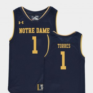College Basketball Special Games Youth(Kids) #1 Replica Austin Torres Notre Dame Jersey Navy