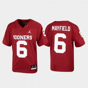 #6 Alumni Football Baker Mayfield OU Jersey Crimson Replica Youth(Kids)