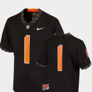 Team Replica Black #1 Oklahoma State Jersey College Football Youth(Kids)