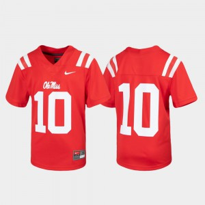 Untouchable #10 Youth(Kids) Red Ole Miss Jersey Football