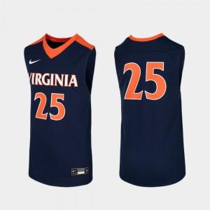 Navy College Basketball #25 Kids Replica UVA Jersey