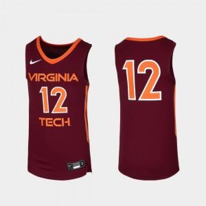 Replica Maroon Basketball Virginia Tech Jersey Youth(Kids) #12