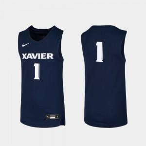 #1 Navy For Kids Replica Xavier Jersey Basketball